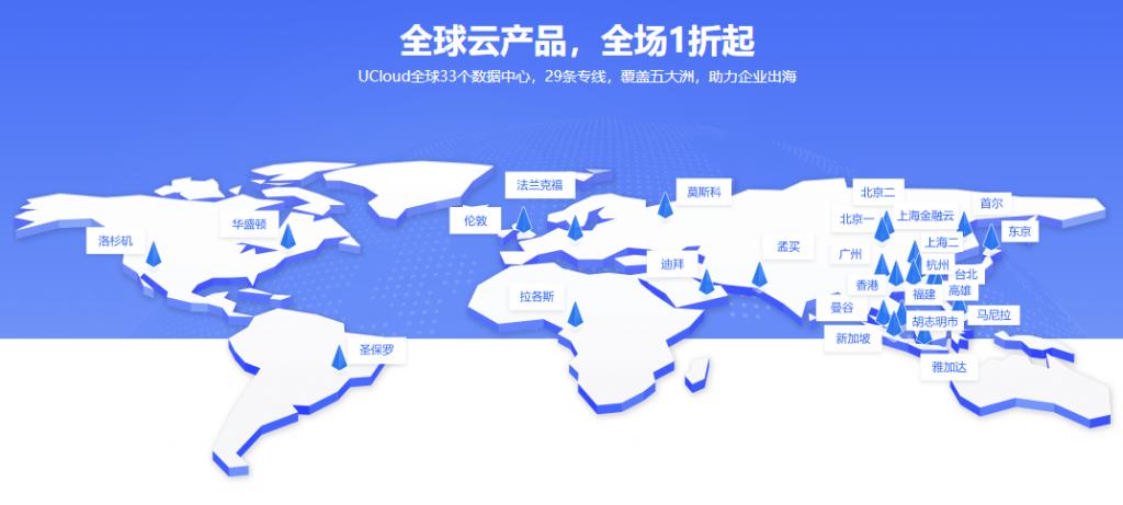 UCloud海外云主机促销1核1G一年150元,3年450元(可按流量计费)