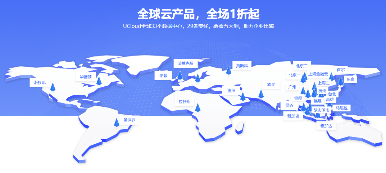 UCloud香港美国免备案vps云主机1核1G一年只要150元
