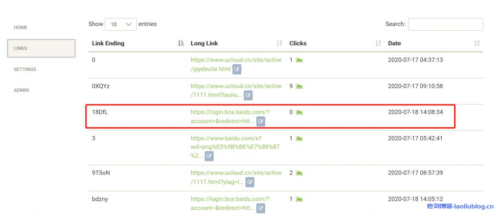 点击LINKS查看历史短网址转换记录