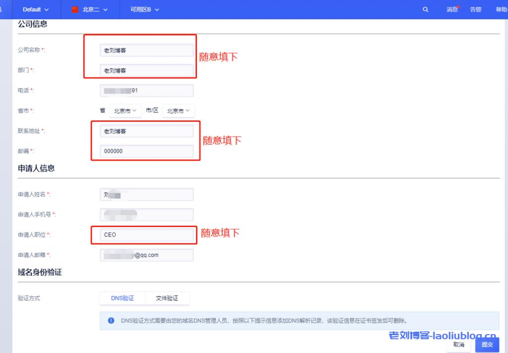 选择域名身份验证方式