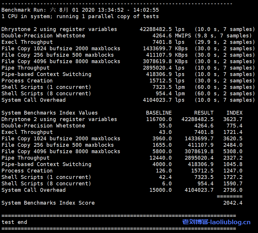 Unixbench跑分测试快杰云主机性能