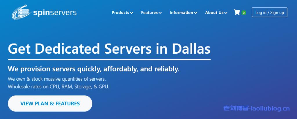 spinservers上线达拉斯高配服务器,339美元/月,双路e5-2695 v4(36核,72线程)、512G DDR4、4个1.92T的SSD(带raid卡)、10Gbps带宽