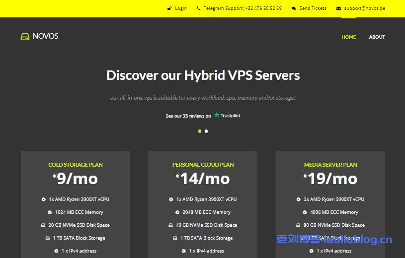 Novos比利时VPS促销1核2G内存NVMe+1TB HDD硬盘1Gbps带宽25TB月流量€8/月附测试IP