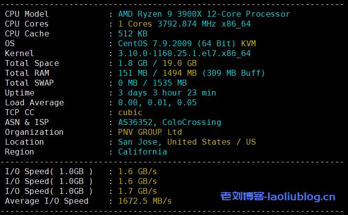RackNerd圣何塞AMD VPS测评:KVM架构1核1.5GB内存20GB NVMe硬盘1Gbps带宽3TB月流量$27.49/年