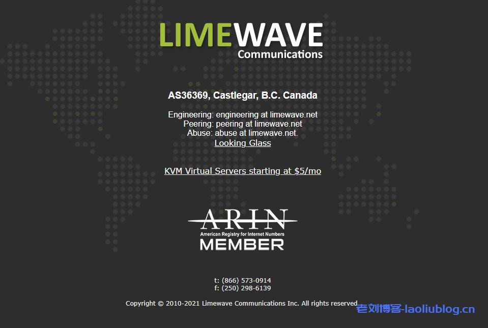 LimeWave加拿大VPS:1核1G内存60G hdd硬盘500G月流量/共享G口带宽$1.85/月,提供2个加拿大原生IP