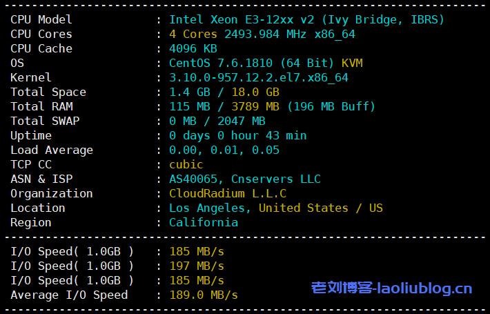 酷锐云主机测评:美国CERA GIA 2区D型4核4G内存100G系统盘20G数据盘30Mbps/30Mbps带宽1000G月流量