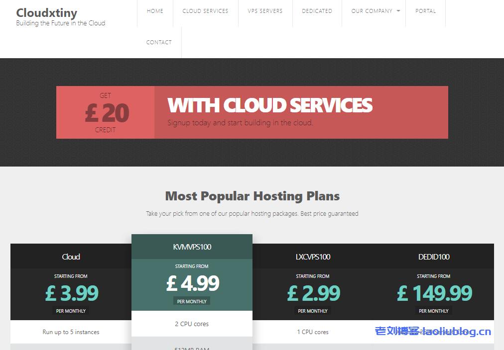 Cloudxtiny英国便宜VPS服务器5折促销,G口带宽双核2G内存40G SSD硬盘带2个IP仅£4/月